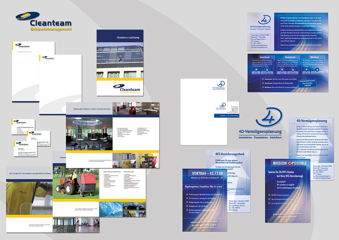 Image-Broschüren, Geschäftspapier, Logos, Visitenkarten, Flyers.